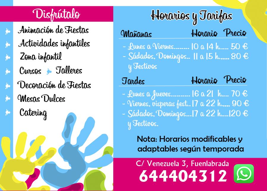 Tarifas y horarios de Palmas Palmitas Celebracion de Eventos